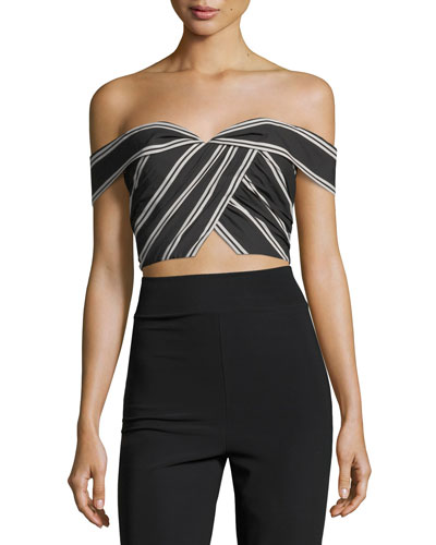 Annalyn Off-the-Shoulder Striped Crop Top