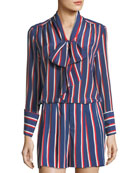 Arie Tie-Cuffs Striped Silk Long-Sleeve Top