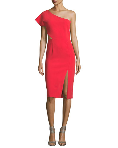 Gina One-Shoulder Cutout Fitted Dress