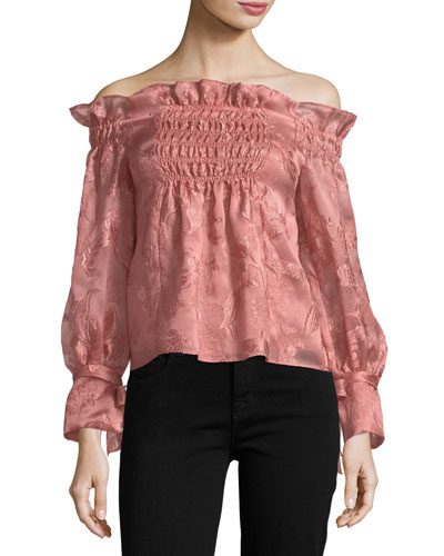 Off-the-Shoulder Organza Top