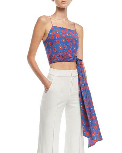 Deidra Floral-Print Tie-Waist Crop Tank