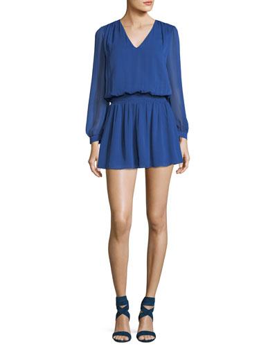 Adaline V-Neck Smocked Waist Chiffon Mini Dress