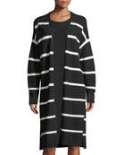 Matte Crepe Long Striped Cardigan, Plus Size