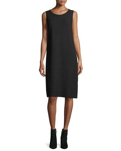 Matte Crepe Sweater Dress w/Links Stitching, Plus Size