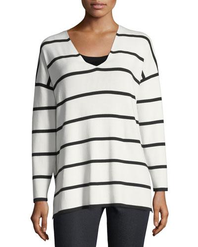 Striped V-Neck Matte Crepe Sweater, Plus Size