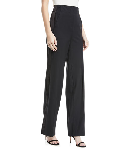 Tuxedo High-Waist Wide-Leg Wool Pants