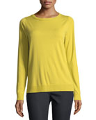 Matte Crepe Crewneck Sweater, Plus Size