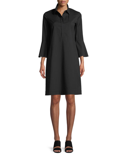 Lunella Stretch-Cotton Shirt Dress, Plus Size