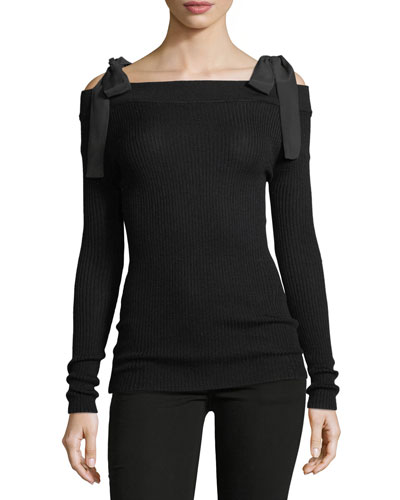 Off-the-Shoulder Merino Wool Knit Pullover Sweater