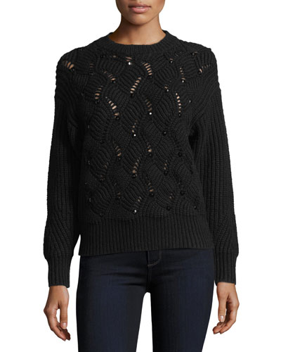 Crewneck Embellished Pullover Knit Sweater