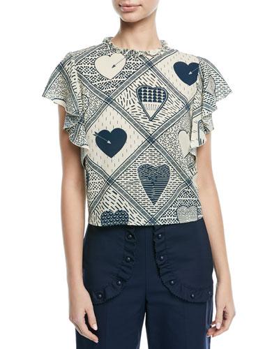 Heart-Print Stretch Crepe Flutter-Sleeve Top