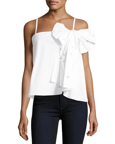 Embellished-Bow Poplin Top