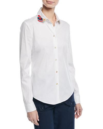 Beaded Bird Poplin Cotton Stretch Shirt