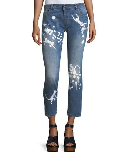 Stone-Wash Distressed Skinny Crop Jeans