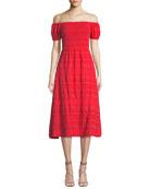 Zanna Off-the-Shoulder A-Line Midi Dress