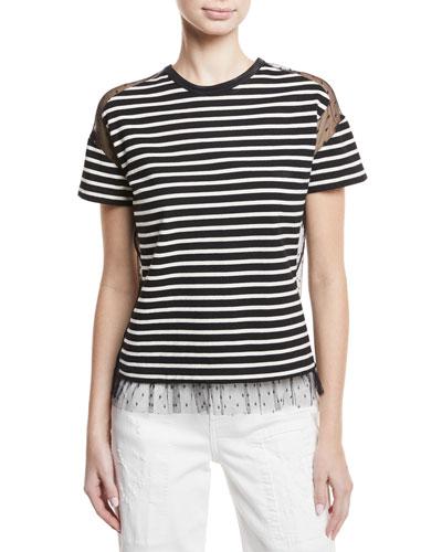 Point d'Esprit-Inset Striped T-Shirt