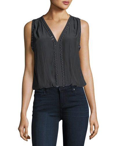 Julia V-Neck Sleeveless Top with Ring Details