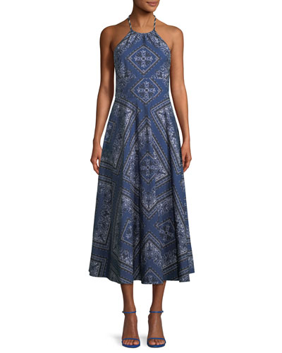 Bandana-Print Denim Long Halter Dress