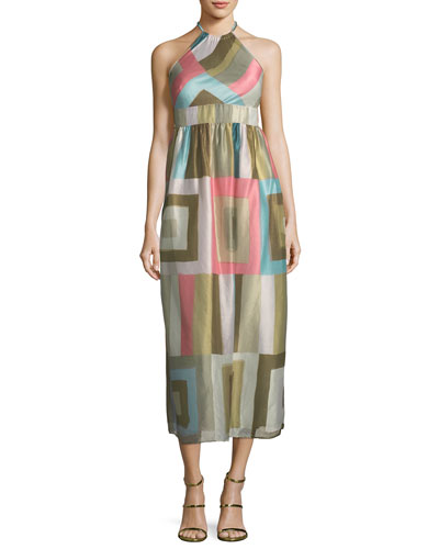 Check-Print Silk-Blend Organza Halter Dress