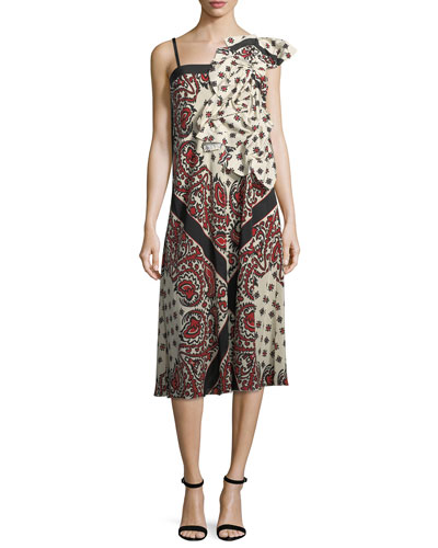 Bandana-Print Crepe de Chine Dress