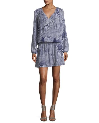 London Tassel-Ties Long-Sleeve Printed Silk Short Dress