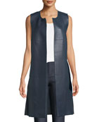 Leather Open-Front Vest