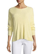 Ribbed Slub Long-Sleeve Top, Petite