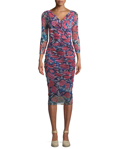 Rose-Print Shirred V-Neck Dress