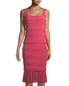Solid Ruffle-Trim Sleeveless Dress