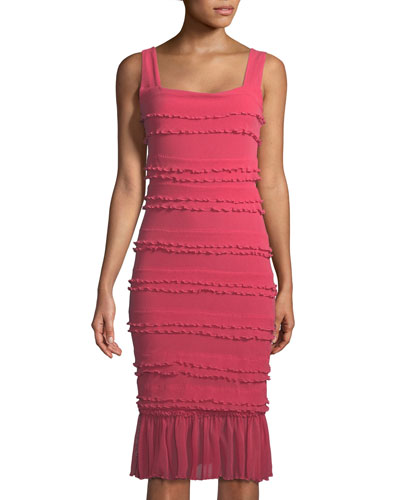 Solid Ruffle-Trim Sleeveless Dress