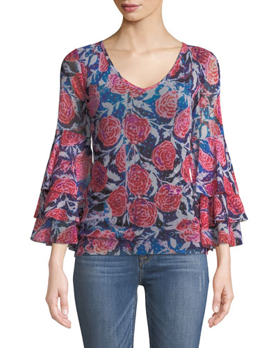 Rose-Print Ruffle-Sleeve Top