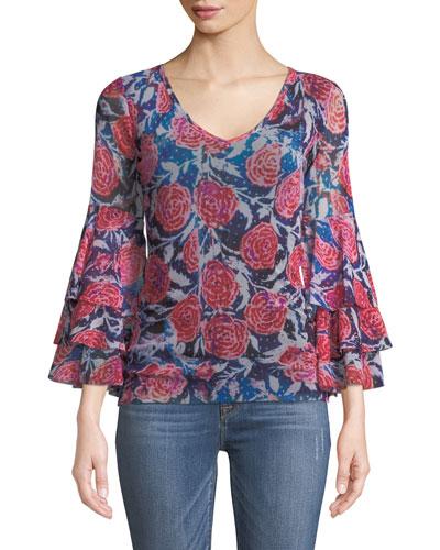 Rose-Print Ruffle-Sleeve Top