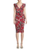 Rose-Print Ruffle V-Neck Dress