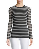 Sheer Striped Long-Sleeve Top