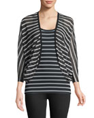 Striped Button-Front Cocoon Cardigan