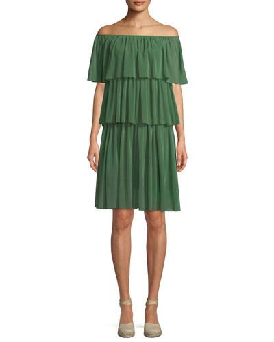 Three-Tier Off-the-Shoulder Ruffle Dress