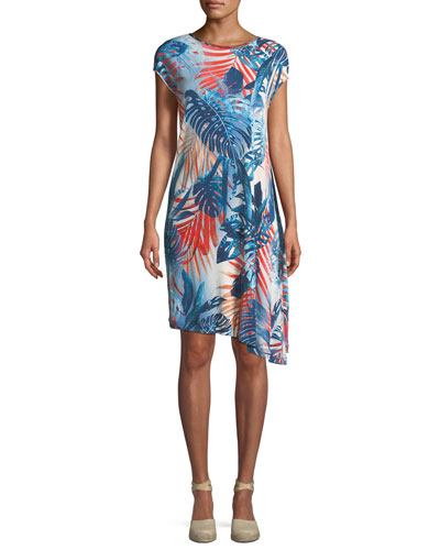 Jungle-Print Jersey Asymmetric Dress