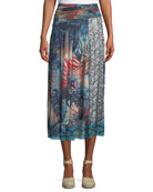 Jungle-Print Patch Long A-Line Skirt