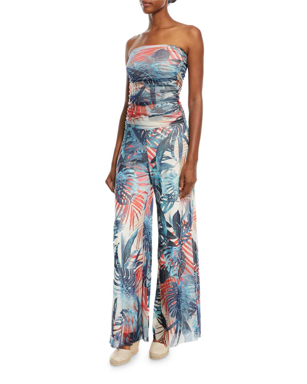 Jungle-Print Strapless Jumpsuit