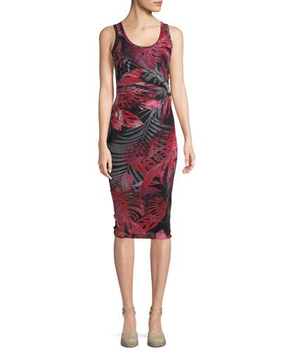 Jungle-Print Ruched Sleeveless Dress