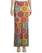 Kaleidoscope-Print Straight Maxi Skirt