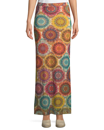 Kaleidoscope-Print Straight Maxi Skirt