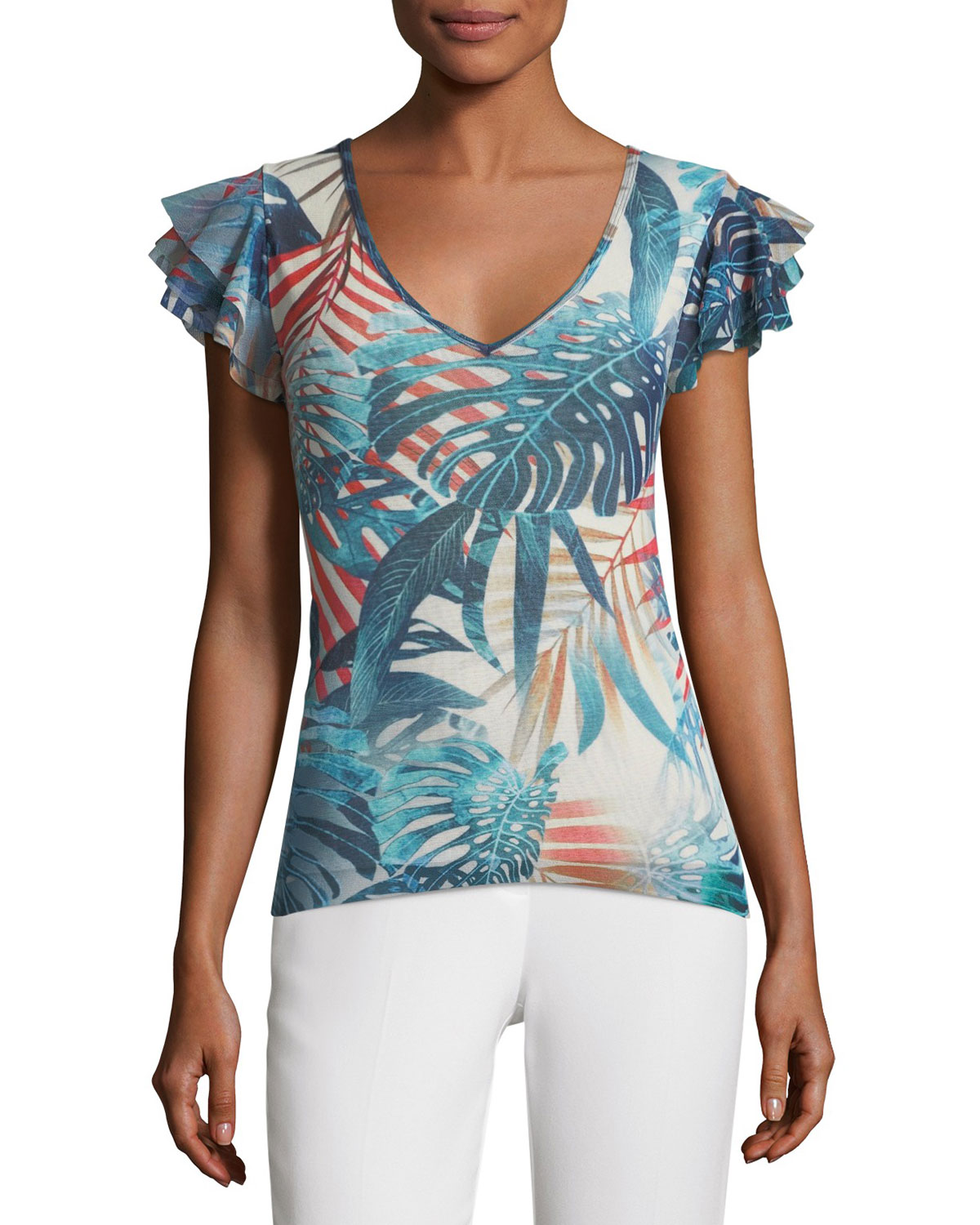 Ruffle-Sleeve Jungle-Print Top