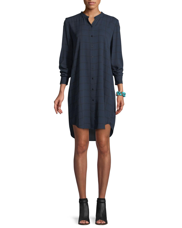 Plaid Silk Boyfriend Shirt Dress