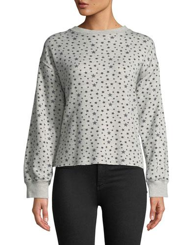 The Slouchy Crewneck Star-Pattern Crop Sweatshirt