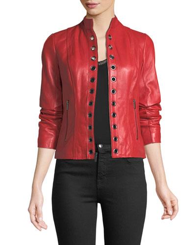 Grommet-Trim Leather Jacket