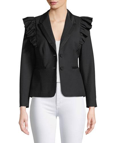 Ruffled Stretch-Wool Jacket