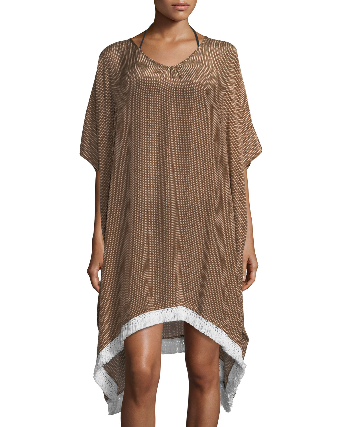 Resort Fringe Crepe Kaftan with Fringe Hem