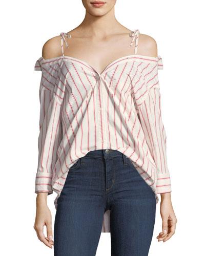 Alvina Button-Down Striped Poplin Shirt