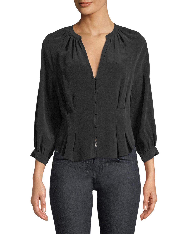 Bitina V-Neck Button-Front Silk Top